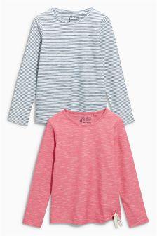 Pink/Blue Tie Hem Long Sleeve T-Shirts Two Pack (3-16yrs)
