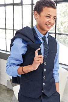 Navy Check Waistcoat, Shirt And Tie Set (12mths-16yrs)
