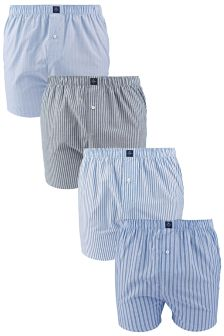 Blue Stripe Woven Boxers Four Pack