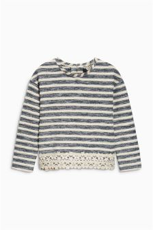 Blue Striped Lace Hem Knit-Look Sweater (3-16yrs)