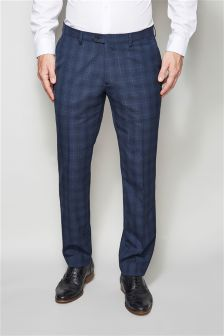 Blue Check Tailored Fit Suit Trousers
