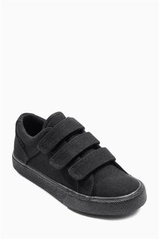 Black Three Strap Canvas Shoes (Older Boys)