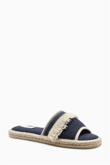 Navy Open Toe Espadrilles