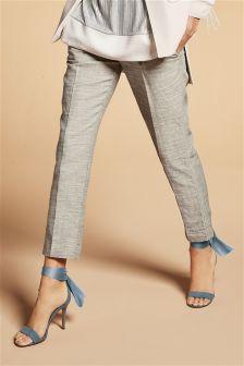 Neutral Linen Mix Cotton Paper Bag Taper Trousers