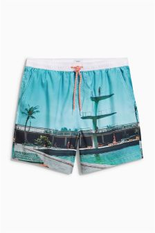 Photographic Print Swim Shorts