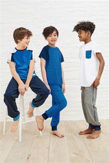Blue/Grey Stripe Pyjamas Three Pack (3-16yrs)
