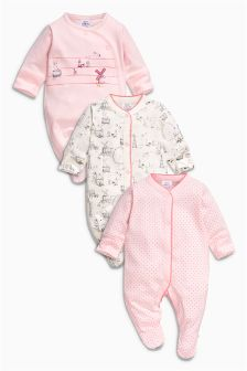 Pink Windmill Sleepsuits Three Pack (0mths-2yrs)