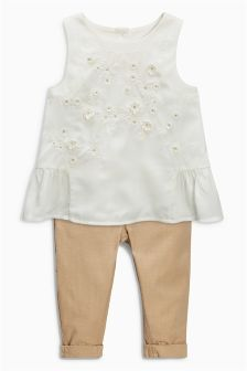 Tan/Ecru Embriodered Linen Set (3mths-6yrs)