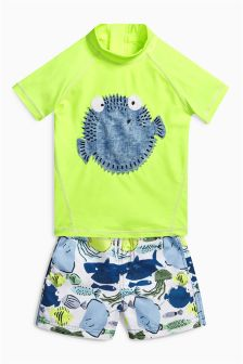 Yellow Puffer Fish Two Piece Woven Short Set (3mths-6yrs)