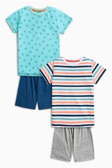 Multi Cactus Stripe Short Pyjamas Two Pack (3-16yrs)