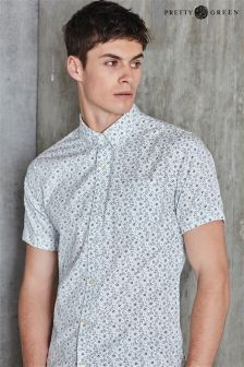 White Pretty Green Mini Floral Print Shirt