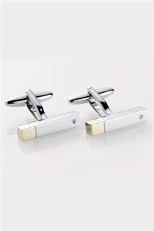 Silver (Metal) Gold Tip Cufflinks
