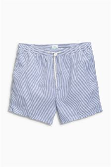 Blue Seersucker Stripe Swim Shorts