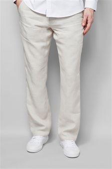 Regular Fit Linen Drawstring Trousers