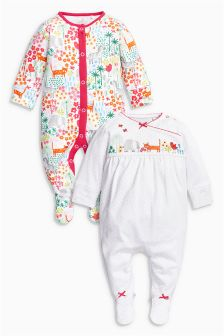 Multi Bright Animals Sleepsuits Two Pack (0mths-2yrs)