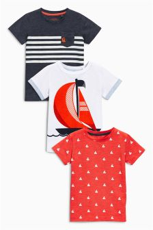 Red/Navy/White Short Sleeve Boat T-Shirts Three Pack (3mths-6yrs)