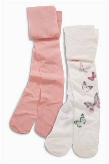 Pink Butterfly Tights Two Pack (3-16yrs)