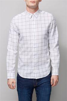 White Linen Blend Windowpane Check Long Sleeve Shirt