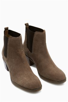 Suede Block Heel Chelsea Boots