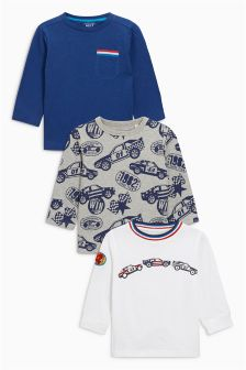 Blue Embroidered Racing Car Long Sleeve Tops Three Pack (3mths-6yrs)