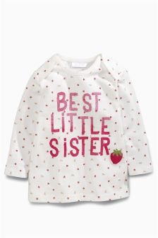 Ecru/Pink Best Little Sister Strawberry T-Shirt (0mths-2yrs)