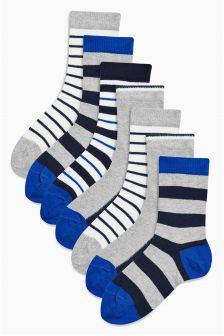 Navy/Grey Stripe Socks Seven Pack (Older Boys)
