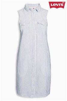 White Levi's® Fine Stripe Dress