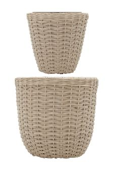 Set Of 2 Natural Woven Planters