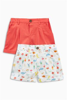 Coral/Print Shorts Two Pack (3mths-6yrs)