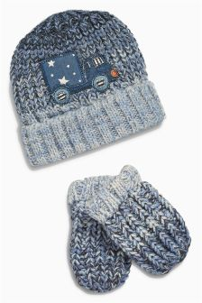 Blue Transport Hat And Scarf Set (Younger Boys)