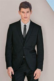 Navy Textured Slim Fit Suit: Jacket