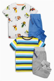 Blue Humour Short Pyjamas Two Pack (3-16yrs)