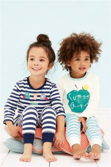 Ecru/Navy Snuggle Fit Super Duper Pyjamas Two Pack (12mths-8yrs)