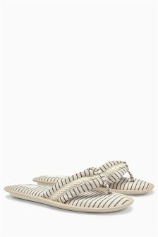 Cream Stripe Toe Thong Slippers