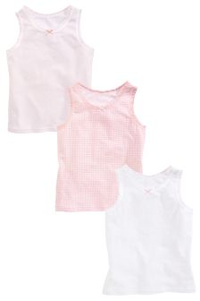 Pink/White Vests Three Pack (1.5-16mths)