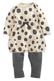 Spot Dress And Leggings Set (0-18mths)