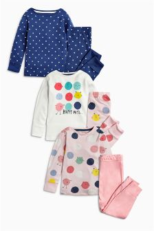 Navy And Pink Character Snuggle Fit Pyjamas Three Pack (12mths-8yrs)