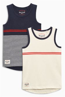 Navy/White Vests Two Pack (3-16yrs)