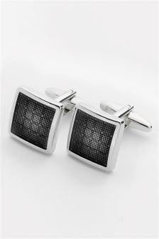 Silver Tone Checked Cufflinks