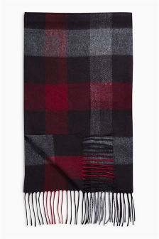 Burgundy Buffalo Check Scarf