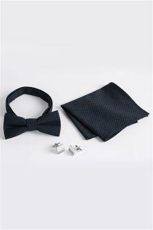 Blue Jacquard Bow Tie, Pocket Square And Cufflink Set