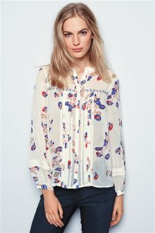 Ditsy Pleated Blouse