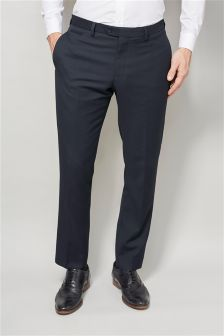 Navy Textured Slim Fit Suit: Trousers