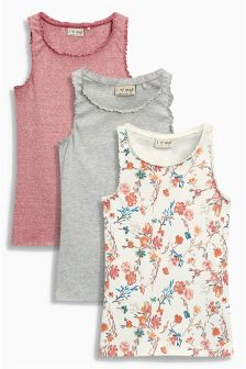 Multi Rust Print Vests Three Pack (3-16yrs)