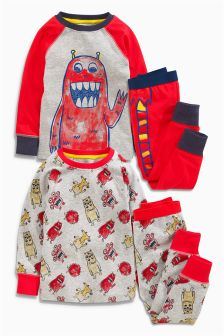 Red I Am Monster Pyjamas Two Pack (9mths-8yrs)