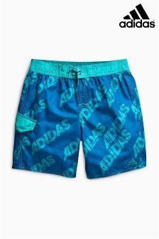 Blue adidas Logo Print Swim Short
