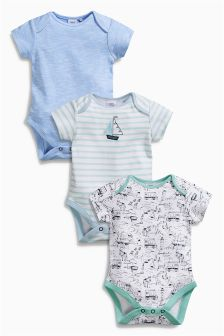 Blue Boat Short Sleeve Bodysuits Three Pack (0mths-2yrs)