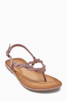 Lilac Plaited Toe Thong Sandals (Older Girls)