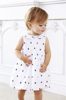 White Boat Print Dress with Knickers (0mths-2yrs)