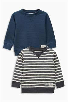 Blue Stripe Crew Neck Sweat Two Pack (3mths-6yrs)